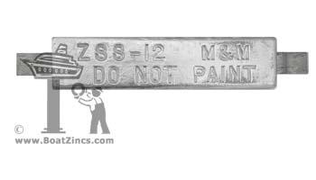 "ZSS-12-12lbs Hull Anodes Weld on zinc 1-1//4/""x 3/""x 12/"""